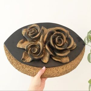 Rose Chalkware Plaque Wall Decor Boho Medieval